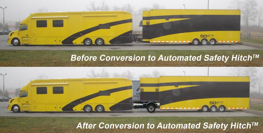 We can convert your bumper-pull to a 5th wh. utilizing the Automated Safety Hitch